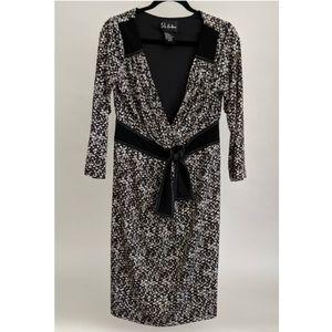 SL Fashions Women's Black/White/Brown Dress